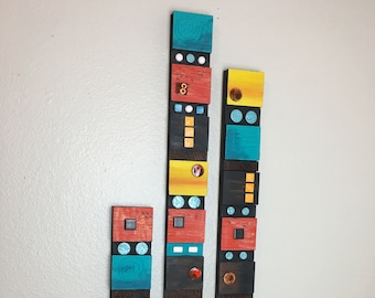 Pop of Color wall art, Mixed media, large vertical totems, ceramic tiles, carved/painted wood blocks, contemporary, unique wall sculpture