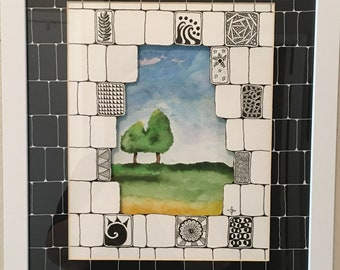 Two Trees Growing Together; 11x 14,  original watercolor; layer unique matting, framed; great gift anniversary, friendship, wedding