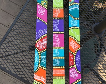 Pop of Color #3 Wall Art Matching set of 3 sticks, totems, hand painted