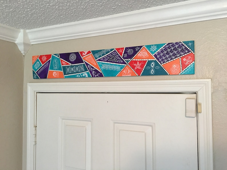 Over the Door Wall Art Painted quilt-like design pop of color