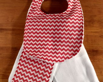 Coral Baby/Infant Bib and Burp Cloth combo