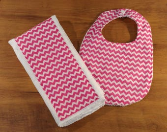 Pink Baby Bib and Burp Cloth combo