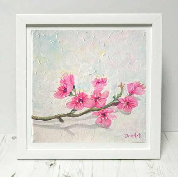 Pink Flowers Original Painting Free Shipping Painting Flower Branch Painting Botanical Artwork Anniversary Gift Mothers Day Gift