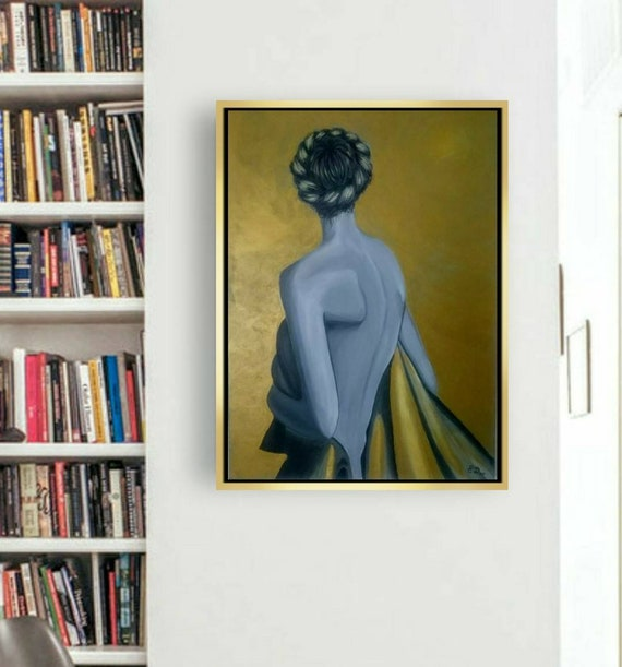 Nude Painting Nude Woman Painting By Elendenart Golden Etsy
