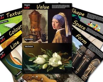 Elements of Art Seven Poster Bundle • Visual Arts Poster • Classroom poster set • Digital Download