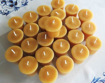 Beeswax Votive Candles BULK Set of 25 / 100% NATURAL Handcrafted in the USA / Full 2 oz Wax Votives / Wedding / Event / Party / Candle