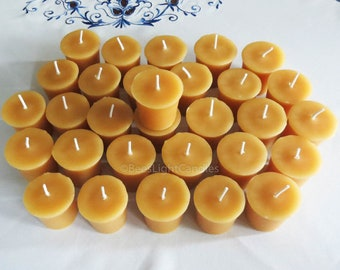 Beeswax Votive Candles BULK Set of 30 / 100% NATURAL Handcrafted in the USA / Full 2 oz Wax Votives / Wedding / Event / Party / Candle