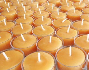 c8c98000e8 Tealight Beeswax Candles BULK 100% Natural / Handcrafted in USA / Set of 25  / 50 / 75 / 200 Tea Lights / Wedding / Event / Party / Prayer