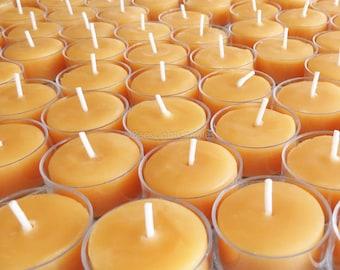 Tealight Beeswax Candles BULK 100% Natural Handcrafted USA / 6 / 12 / 25 / 50 / 75 / 100 / 200 / 300 Tea Lights Wedding Event Party / Honey