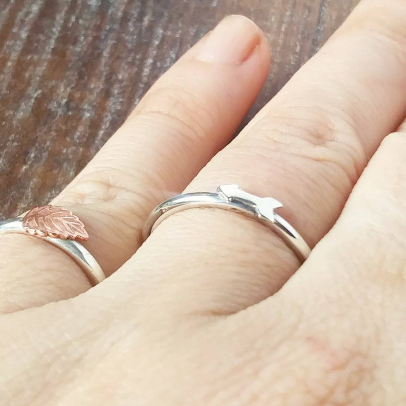 Skinny Stacking Arrow Ring Thin Silver Hammered Ring,
