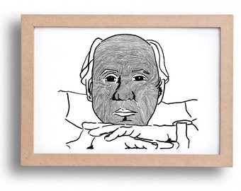 Illustration of 'TIME'-handmade black and white illustration of a portrait