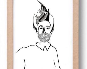 "Illustration ""FUJI""-handmade black and white illustration of a portrait"