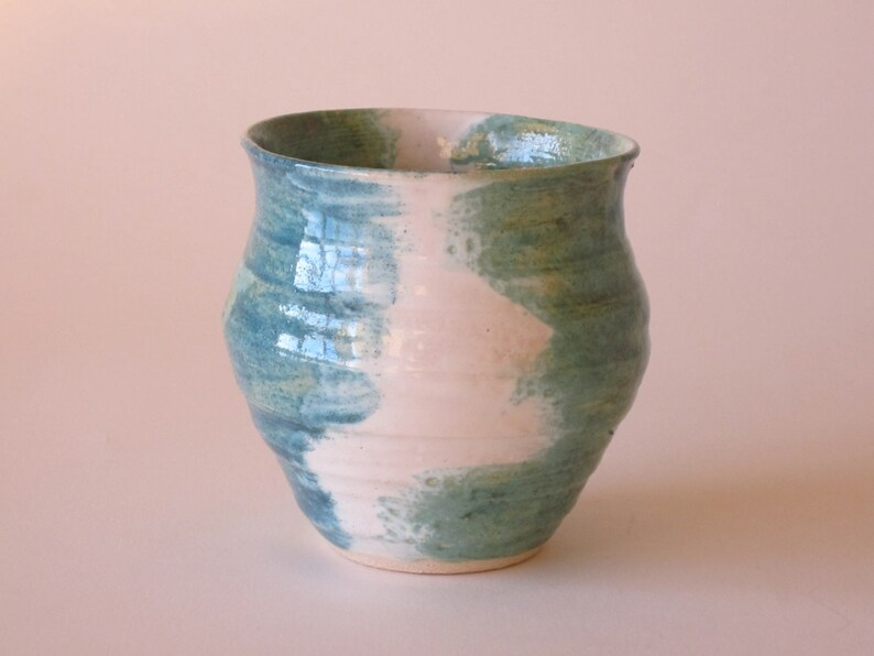 Turquoise and white ceramic vase ideal gift for a birthday or image 0