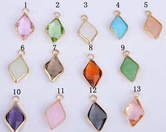 Gold plating framed teardrop glass charm, birthstone charm, faceted glass charm/pendant, 19MM*10MM