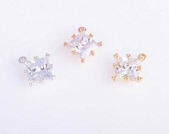 2pcs  Micro pave cubic zircon charm/pendant/necklace