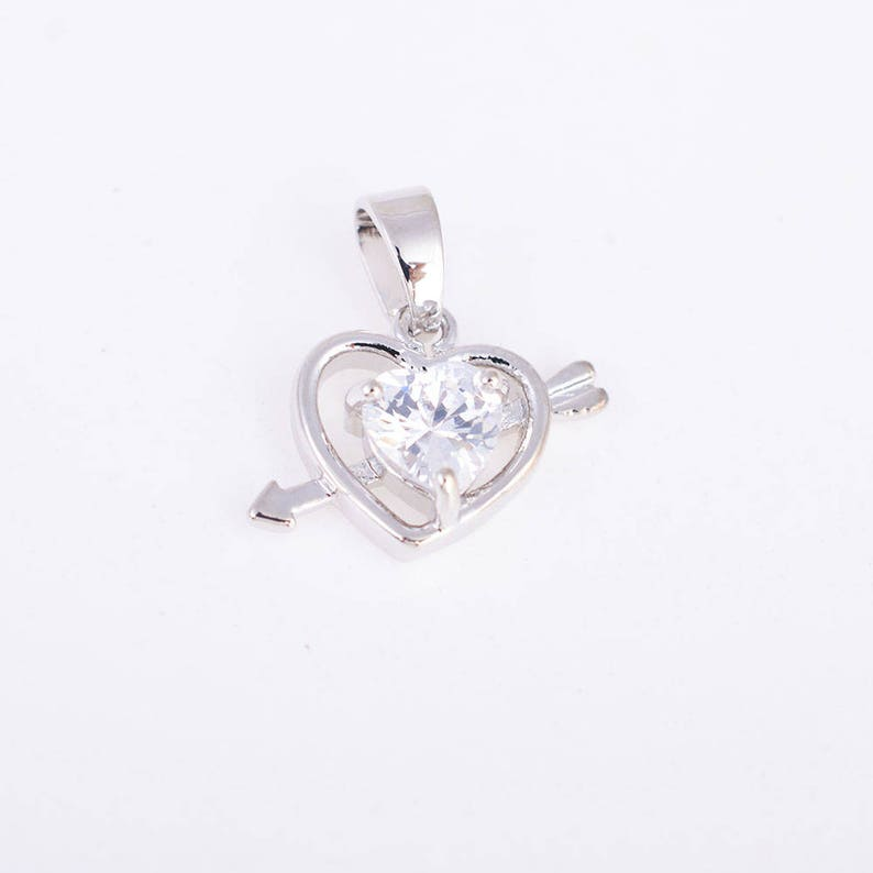 Cubic Zirconia Arrow and  Hearth charmpendantnecklacejewelry findings with gold plating