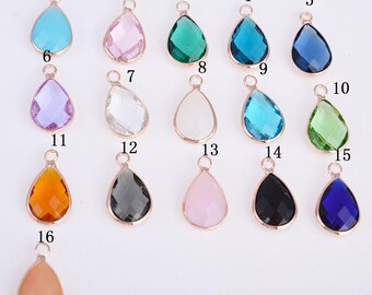2pcs rose gold plating faceted glass charm, teardrop charm, framed teardrop glass bead/pendant/charm, 18MM*10MM