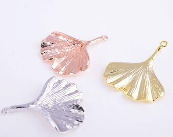 Ginkgo leaf charm,leaf pendant,gold/rose gold/silver leaf charm,leaf necklace,leaf bracelet
