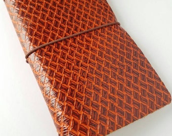 Faux dori Midori journal with insert included. Brown patterned leather planner.