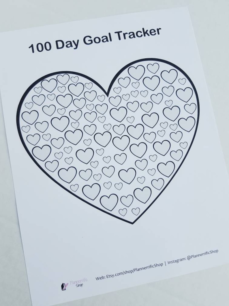 Printable goal challenge coloring page. 100 day goal tracker Hearts DIGITAL DOWNLOAD Habit tracker PDF