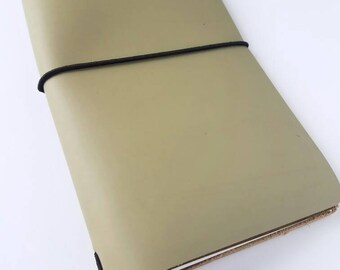 Midori sage green leather journal. Fauxdori planner. Travelers notebook with an insert. Weekly planner. Traveler notebook accessories