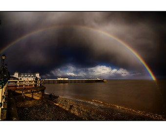 A rainbow over Penarth Pier