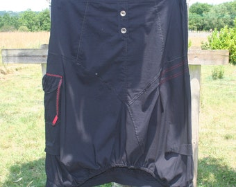Woman summer skirt. French vintage. Black cotton skirt with large pocket. Skirt sports, hiking.  Skirt size 46/XL.