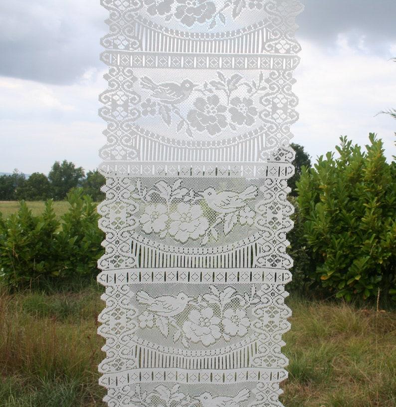 Vintage veiling Design Birds Curtain panel Floral Garden Home d\u00e9cor. White curtain festooned French lace curtain