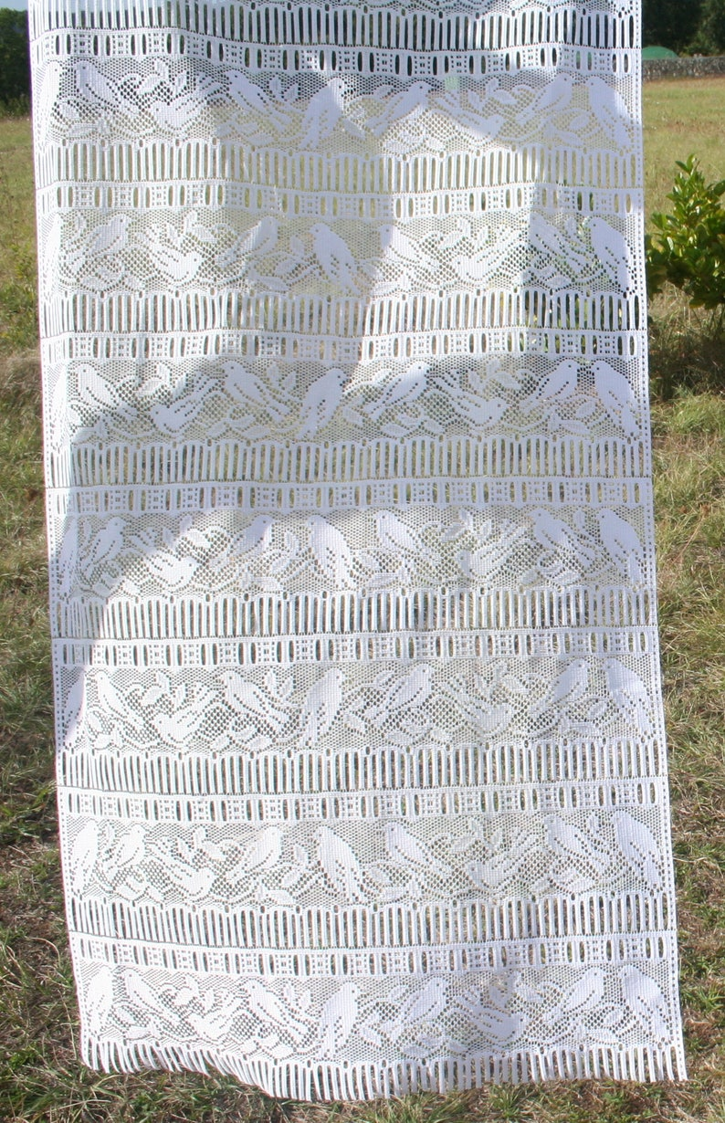 Rideau Style Boheme Chic french lace curtain. curtain panel white. curtain designs birds. floral.  vintage sheer. interior decor.