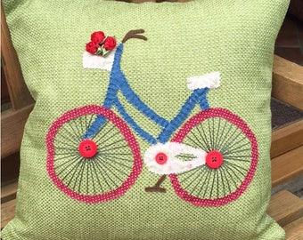 Green Bicycle Cushion / Pillow