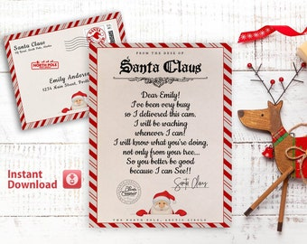 Santa Cam Letter, Editable Santa Claus Cam Letter, From the Desk of Santa, Delivered by the North Pole Express Mail, Santa Letter Template
