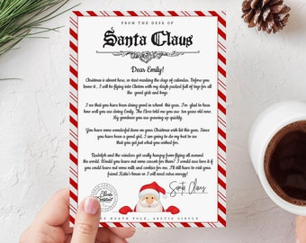 Editable Letter from Santa Claus. From The Desk Of Santa Claus, Santa Letter, Xmas Eve, North Pole, Instant Download, Templett