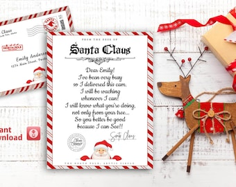 Editable Santa Cam Letter, Santa Claus Cam Letter, From the Desk of Santa, Delivered by the North Pole Express Mail, Santa Letter Template