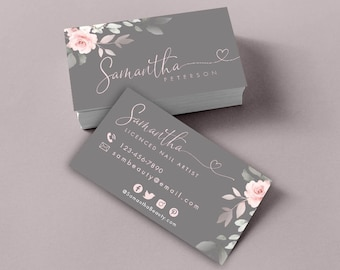 Editable Business Card, Rustic Floral Business Card Template, Watercolor Business Card, DIY Business Card, Template, Instant Download