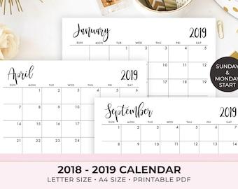 calendar printable etsy