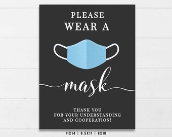 Spanish Version Wear a Mask Printable papers Instant Download Store sign Business sign Social distancing,cover your cough Sign