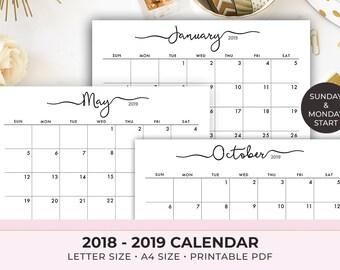 Printable Calendar 2019 Etsy