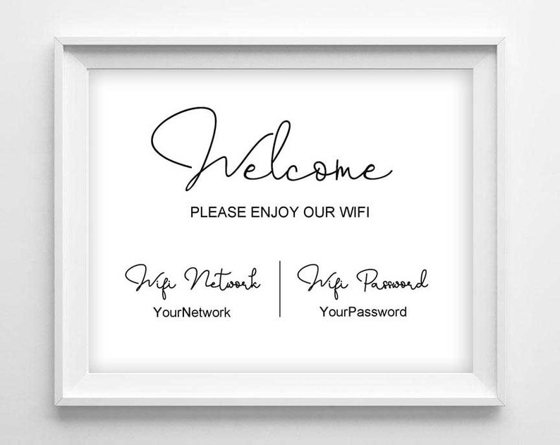 photo about Printable Wifi Sign known as WIFI Indicator Printable - Wifi Pword - Editable Wifi Indication - Visitor Place Website Signal - Editable PDF indicator - Wifi Community - Immediate Obtain