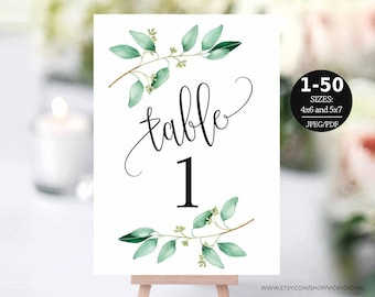 Table Number Template, Table Numbers, Printable Table Numbers, Table Numbers 1-50, Calligraphy, 4x6, 5x7, PDF Instant Download