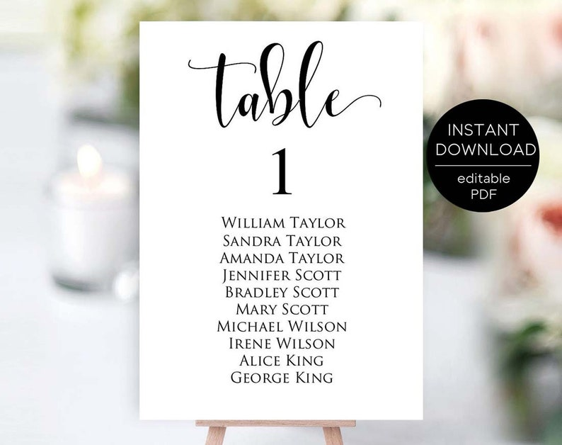 Table Number Template, Editable Table Number Template, Seating Chart Cards,  Table Numbers, Printable Table Numbers, Instant Download