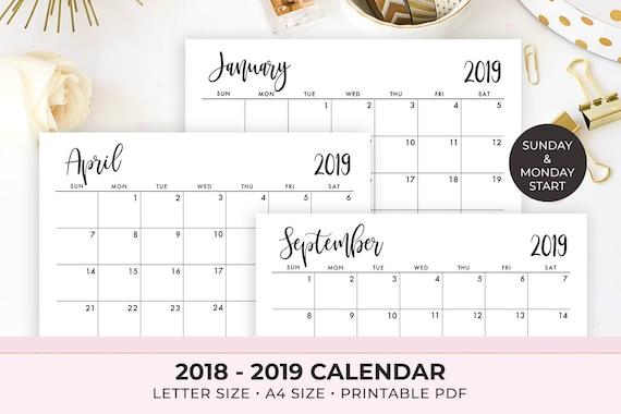 2019 Calendar Printable 2018 2019 Calendar Template Etsy