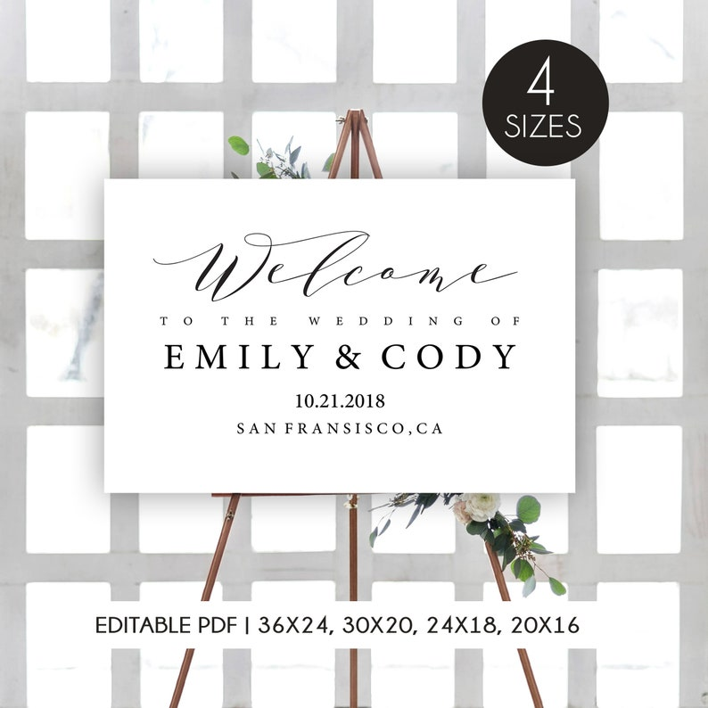 graphic relating to Welcome Signs Template titled Marriage Welcome Indicator Template, Wedding ceremony Welcome Indicator Printable, Marriage Symptoms, Editable Welcome Signal, Welcome in the direction of our Wedding day Indication Template