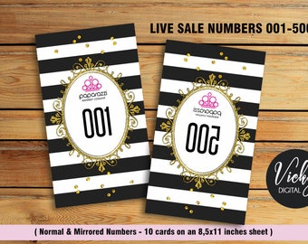 Paparazzi Live Sale Numbers - Normal and mirrored numbers 001-500 -  You Print