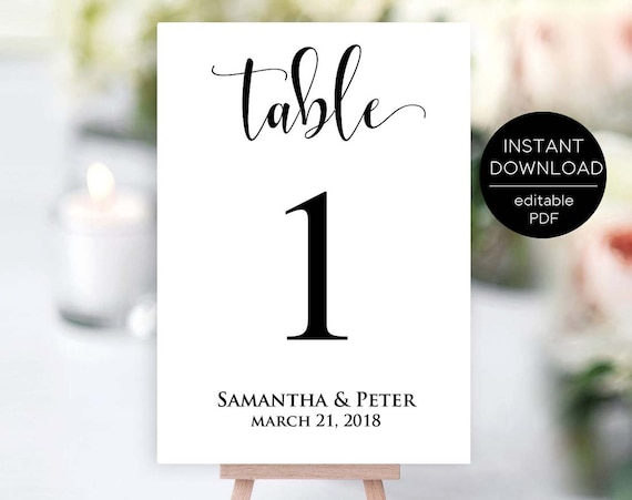 table number template editable table number template 5x7 and etsy