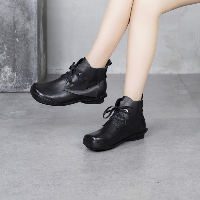 Flat shoes Casual shoes Handmade women/'s boots Oxford women shoes Short boots booties Ankle boots Vintage leather shoes