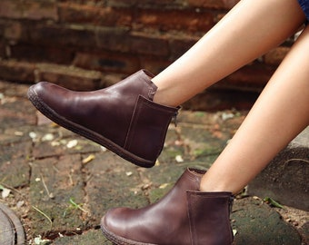 Women's handmade boots, Ankle boots, Flat shoes, Casual shoes, Vintage leather shoes, Short boots, booties, Oxford women shoes