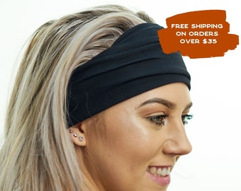 Black Casual Exercise & Fashion Headband - Comfortable Blend of Soft Bamboo - Ideal for Stretching, Yoga, Pilates, Light Workouts or Travel