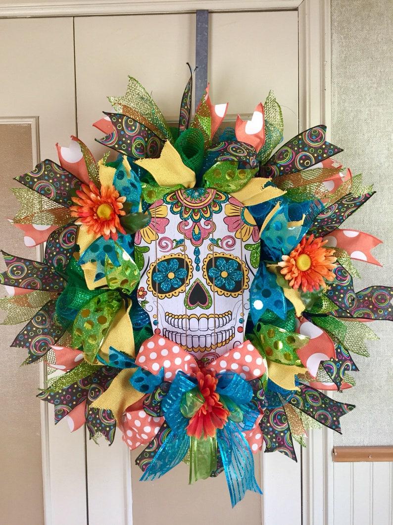 Fall Wreath Sugar Skull Wreath Halloween Wreath Day Of The image 0