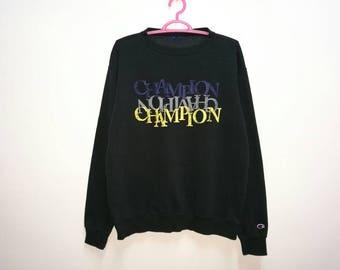 Rare!! Champion Small Logo Spellout Embroidery Pullover Jumper Sweatshirt