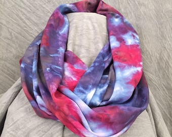 Ice Dyed Scarf, Gift Women, Colorful Rayon Scarf, Blue Tie Dye Scarf, Tie Dye Scarf, Abstract Scarf, Hand-Dyed Scarf, Infinity Scarf, SC364